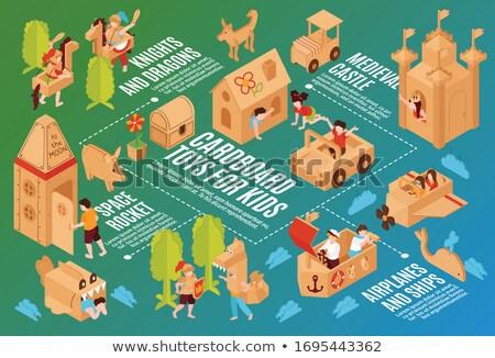 Garçon bâtiment carton vaisseau spatial amusement portrait Photo stock © IS2