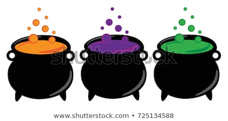 Stock photo: Cartoon witch pot with poison isolated on white