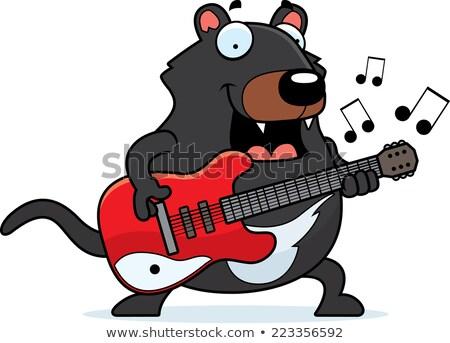 rajz · ördög · gitár · illusztráció · játszik · elektromos · gitár - stock fotó © cthoman