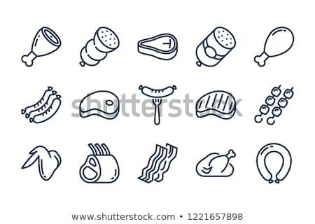 Vector meat icon set Stock photo © tele52