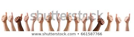 üzletasszony · hüvelykujj · felfelé · copy · space · felirat · üzletasszony - stock fotó © kzenon