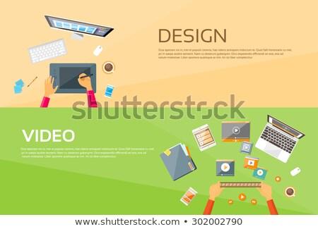 Foto stock: ícone · foto · editor · monitor · tela · fino