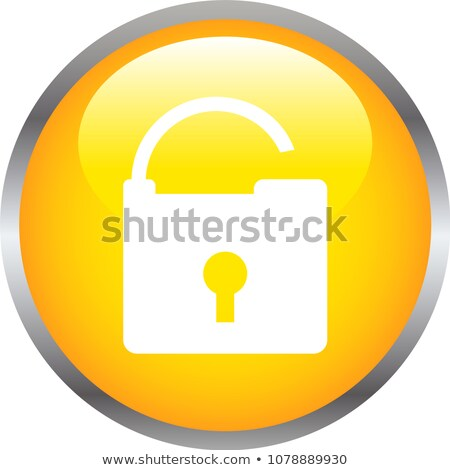 Colorful Shiny round button with opened padlock mark Stock photo © Blue_daemon