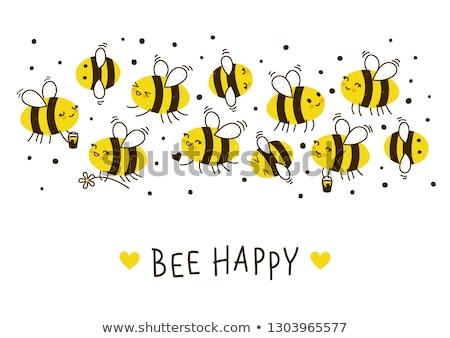 aranyos · méh · illusztráció · ikon · növény · rajz - stock fotó © Blue_daemon