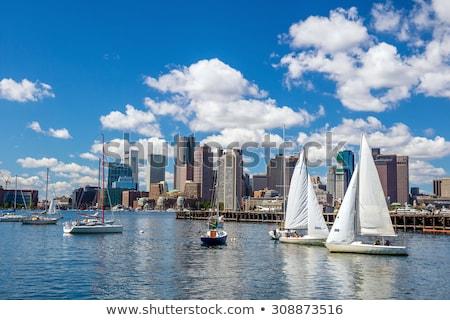 лодках Бостон порт Blues Восход небе Сток-фото © jsnover