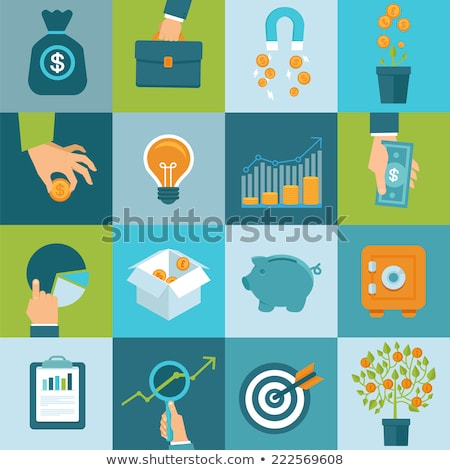 Crowdfunding Icons Set, Target and Money Coin Stock photo © robuart