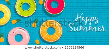 Summer pool card of tropical fruits and lifesaver Stock photo © cienpies