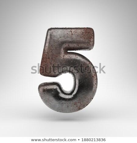 Rouillée métal police nombre cinquième 3D Photo stock © djmilic
