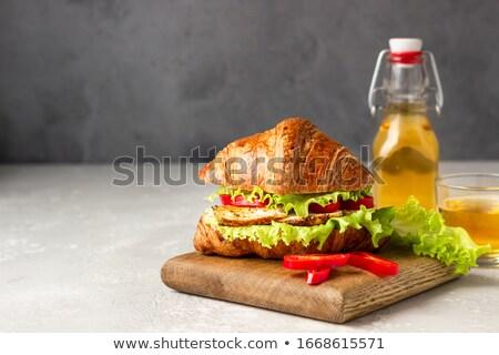 Taze kruvasan sandviç taş tablo fransız Stok fotoğraf © karandaev