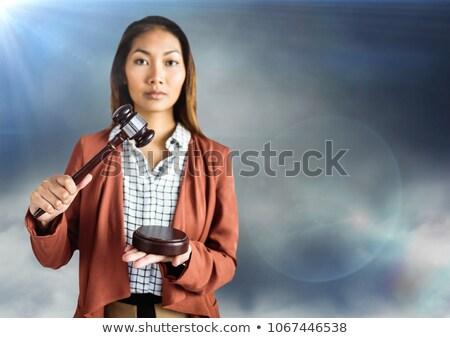 Homme juge marteau bleu nuageux ciel Photo stock © wavebreak_media