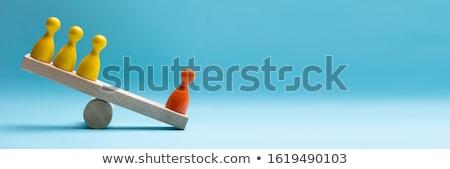 Rood Blauw pion houten wip Stockfoto © AndreyPopov