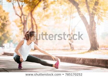 Foto stock: Atleta · mulher · quente · para · cima · correr