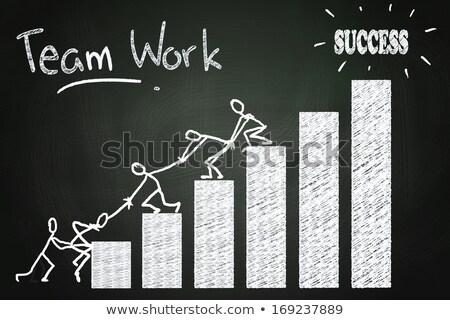 ondersteuning · menselijke · krijt · centrum · Blackboard - stockfoto © bbbar