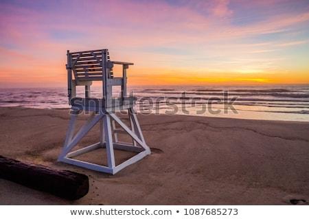 Lifeguard chair at sunrise Stock photo © saje