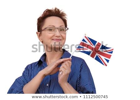 Bayan İngiliz bayrağı yalıtılmış beyaz kadın Stok fotoğraf © stockyimages
