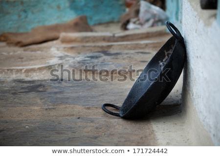 Foto stock: Culinária · indiana · velho · profundo · panela · cozinha · ferro