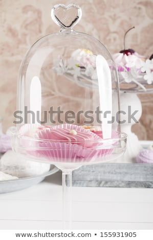 Festive cupcake with tea on fancy plate Stock photo © fotogal