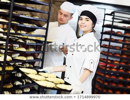 Jóvenes Baker pan pan atrás piel Foto stock © photography33