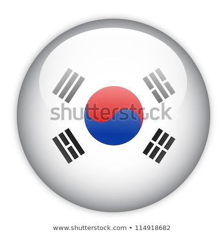 Cam düğme bayrak Güney Kore kırmızı yay Stok fotoğraf © maxmitzu