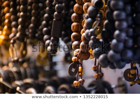 Dark Silver Bead Bracelet on Black Stock photo © tainasohlman