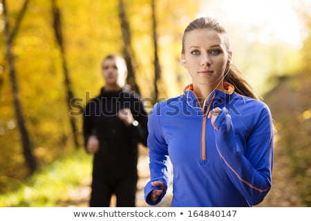 two young girls jogging outdoors stock photo © vlad_star