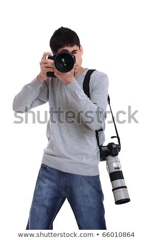fotograaf · geïsoleerd · witte · oog · gezicht · werk - stockfoto © Paha_L
