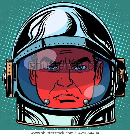 Stock photo: emoticon evil Emoji face man astronaut retro