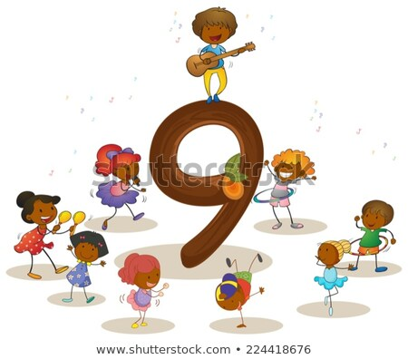 Flashcard number 9 with number and word Stock photo © bluering