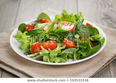 ensalada · tomates · cherry · albahaca · pesto · chícharos · hierbas - foto stock © digifoodstock