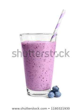 Joghurt smoothie friss áfonya üveg háttér Stock fotó © yelenayemchuk