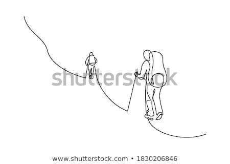Silhouet lineair stijl icon man klimmen Stockfoto © Olena