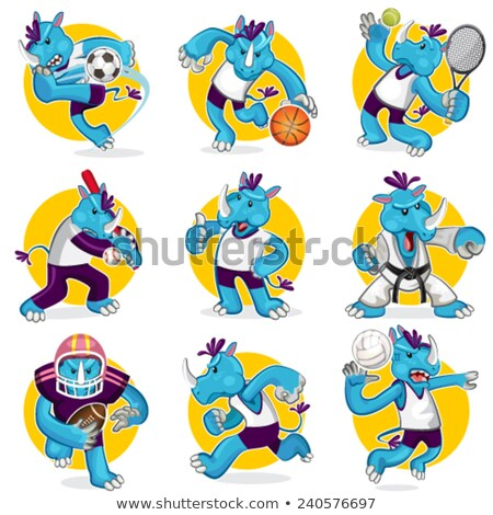 Rinoceronte bola de tênis esportes mascote tênis animal Foto stock © Krisdog