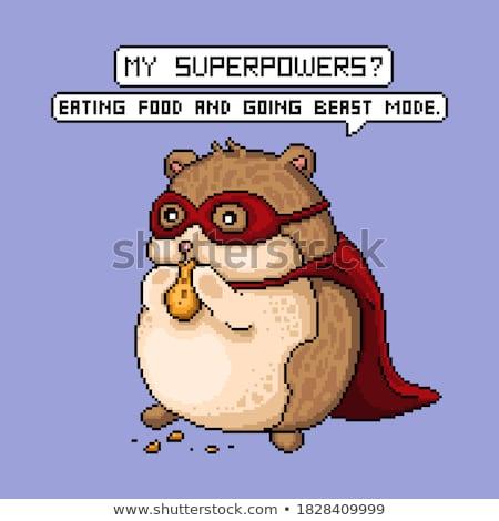 Karikatür süper kahraman hamster örnek kostüm mutlu Stok fotoğraf © cthoman