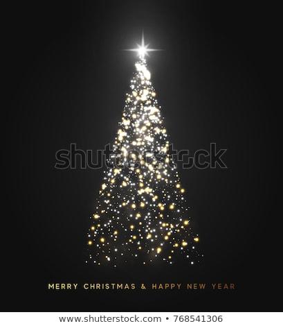 Sziluett karácsonyfa fekete szín izolált arany Stock fotó © Lady-Luck