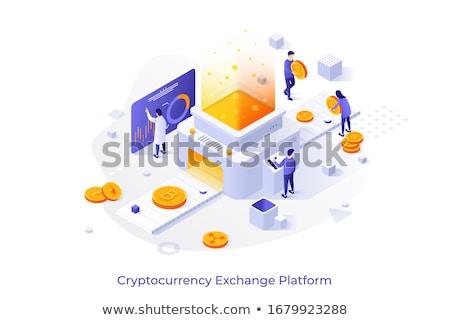 Bitcoin vágány poszter izolált ikon szett emberek Stock fotó © robuart