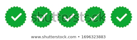 Approved tick stamp, button or badge with green tick or checkmark. vector illustration isolated on w Stock photo © kyryloff