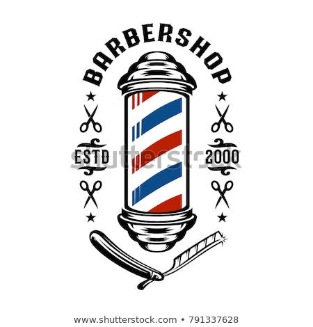 Barber pole sign on white background Stock photo © colematt