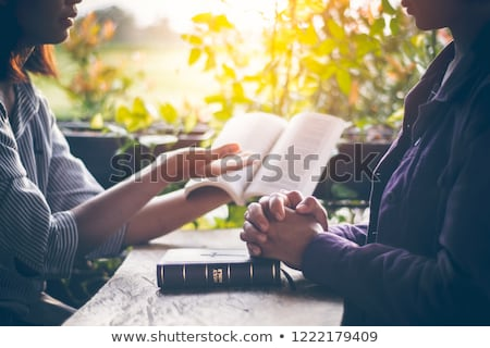 изучения · святой · Библии · будильник · очки · кофе - Сток-фото © andreypopov