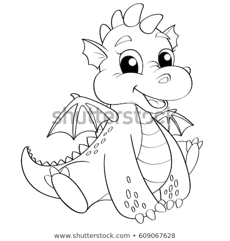 cartoon dragon fantasy character coloring book Stock photo © izakowski