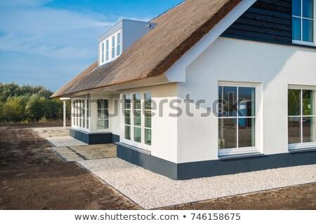 techo · tradicional · África · cielo · azul · nubes · construcción - foto stock © lichtmeister