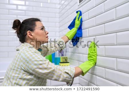 ház · takarítás · csempék · kéz · gumi · kesztyű - stock fotó © andreypopov