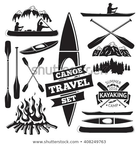 ストックフォト: Man In Boat With Oar Canoeing Icon Vector Illustration
