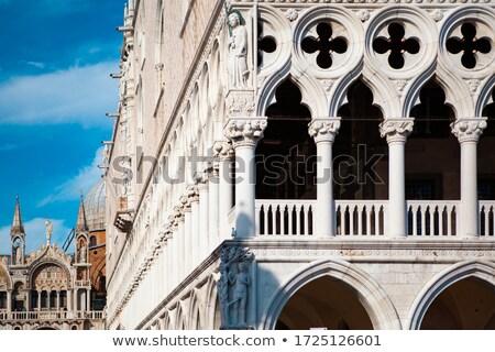 Velence utca ősi épületek téglák piros Stock fotó © ShustrikS
