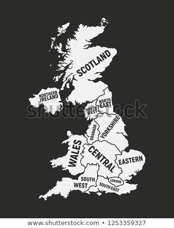 Poster harita bölgeler İngiltere siyah beyaz baskı Stok fotoğraf © FoxysGraphic