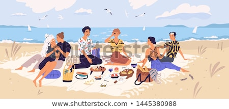 Female Friends Eating Out Women by Seaside Vector Stock photo © robuart