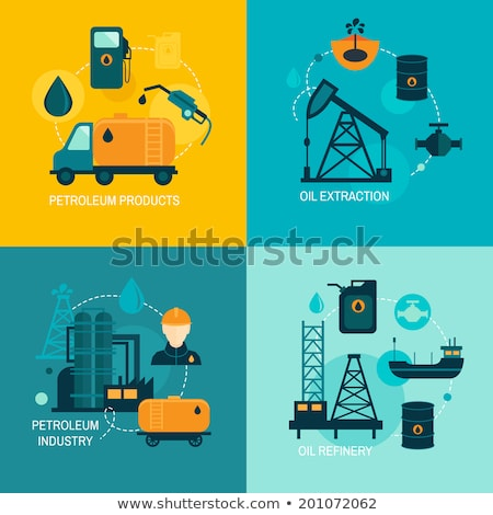Infographic petroleum elements. Process of oil production and petroleum refining. Oil rig. Fuel. Gas Stock photo © designer_things