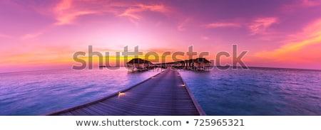 Zonsondergang panorama Maldiven mooie eiland zomer Stockfoto © bloodua