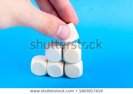 Finale houten kubus hand bureau kantoor Stockfoto © goir