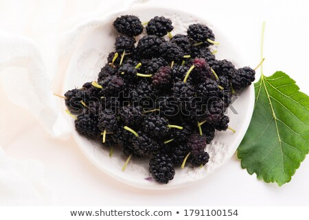 Pile of mulberry isolated on white plate Stock photo © joannawnuk