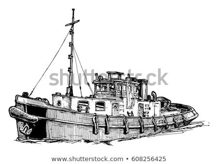 ボート レトロな 黒白 レトロスタイル 実例 ストックフォト © patrimonio
